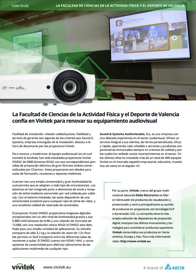 La Facultad de Ciencias de la Actividad Física y el Deporte de Valencia confía en Vivitek para renovar su equipamiento audiovisual